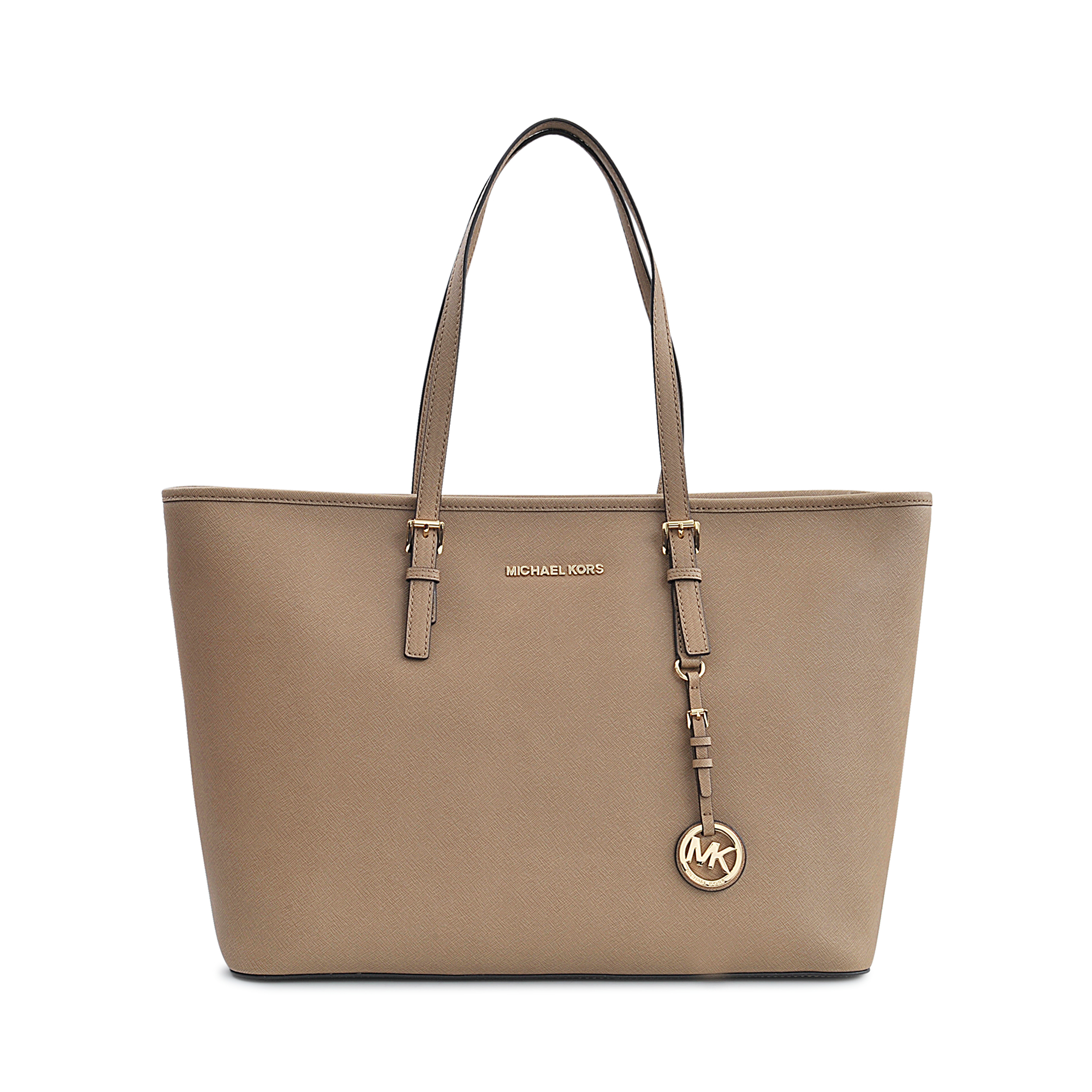 michael kors jet set travel saffiano leather tote in gray lyst. Black Bedroom Furniture Sets. Home Design Ideas