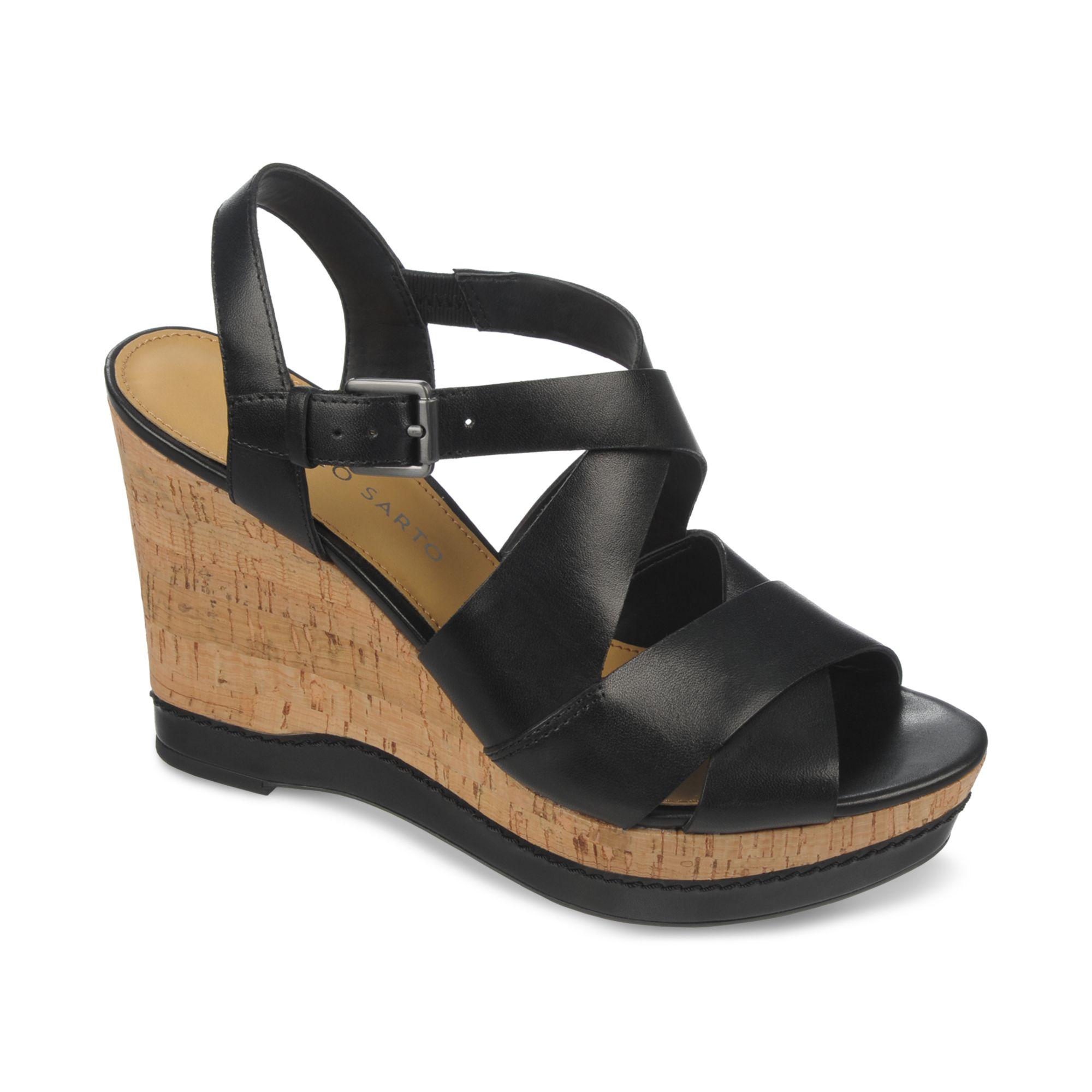 franco sarto shiver platform wedge sandals in black lyst