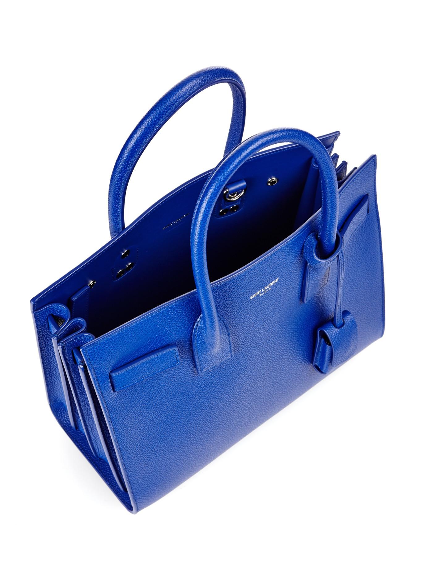 sac de jour mini grained leather satchel bag, cobalt