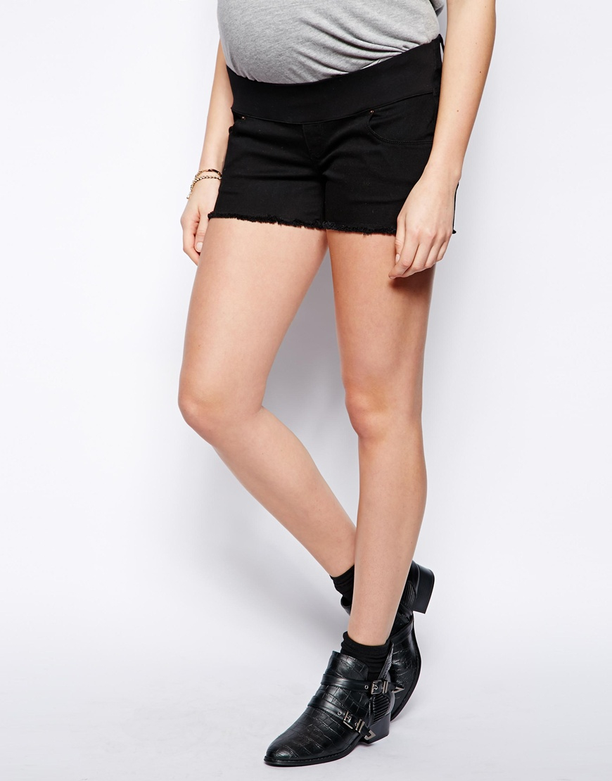 Exclusive Denim Adidas Top Ten 2000 Swaggy P Pes For: Asos Maternity Exclusive Denim Shorts In Black