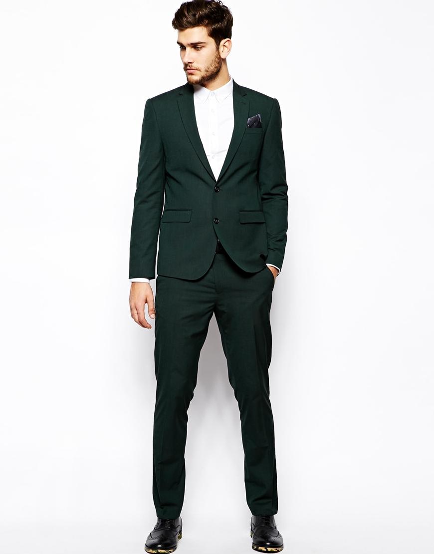 Asos Slim Fit Suit Trousers In Dark Green in Green for Men | Lyst