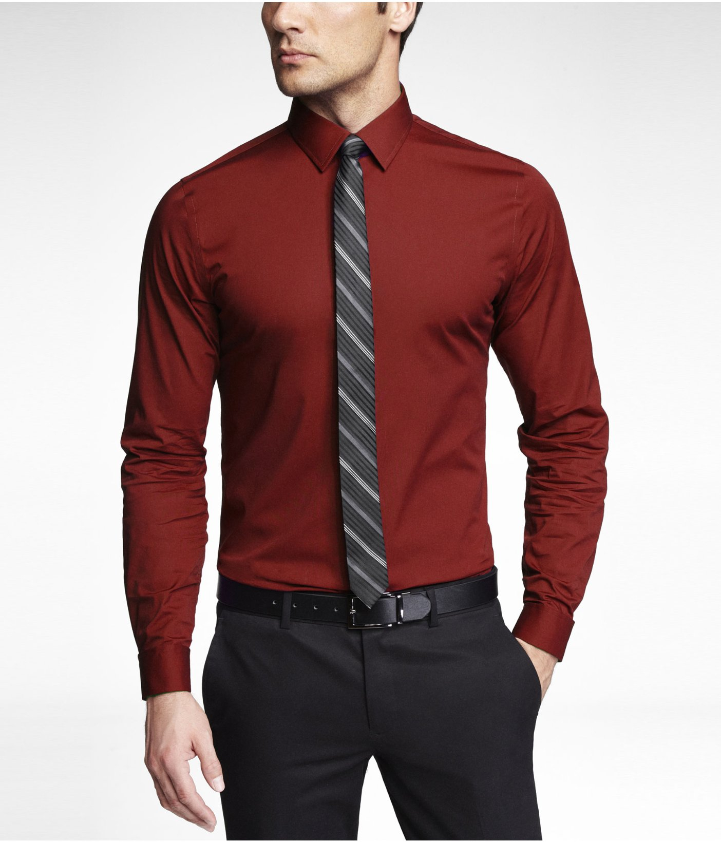 Express Fitted 1mx French Cuff Shirt In Red For Men Lyst