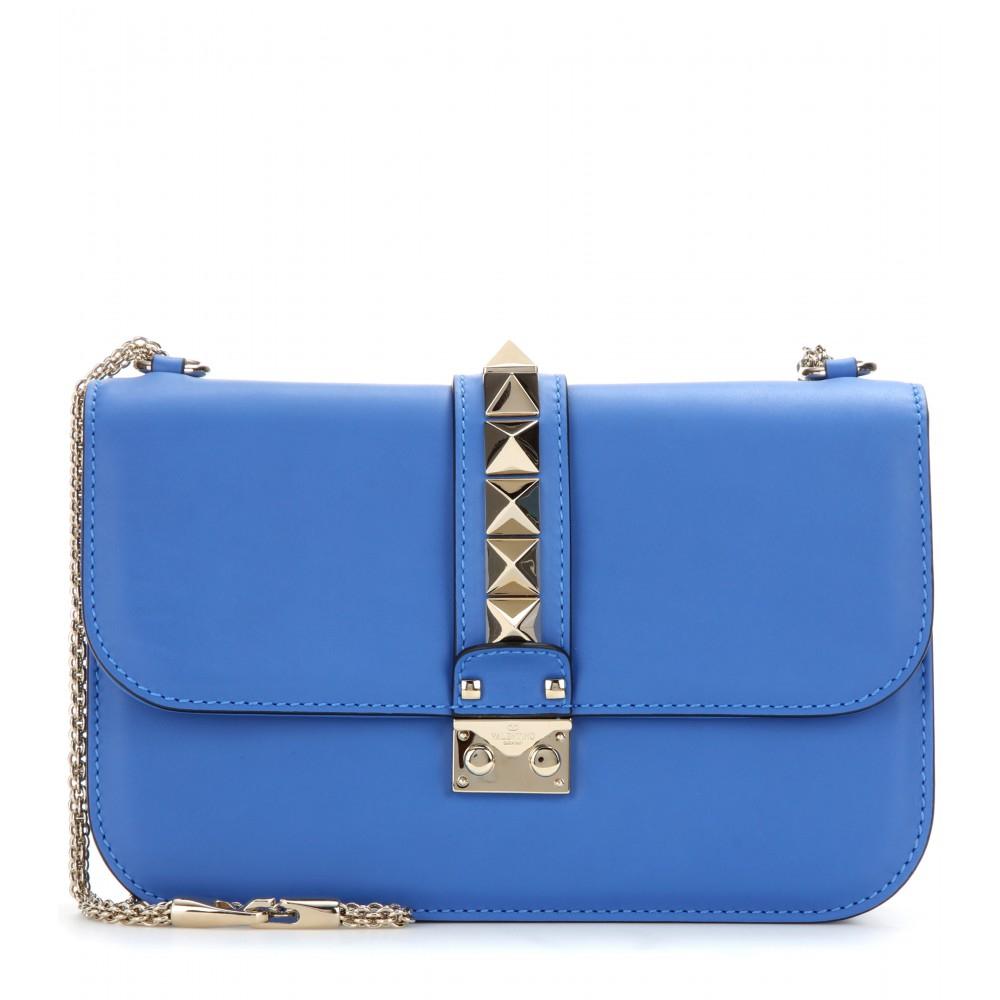 valentino lock medium leather shoulder bag in blue lyst. Black Bedroom Furniture Sets. Home Design Ideas