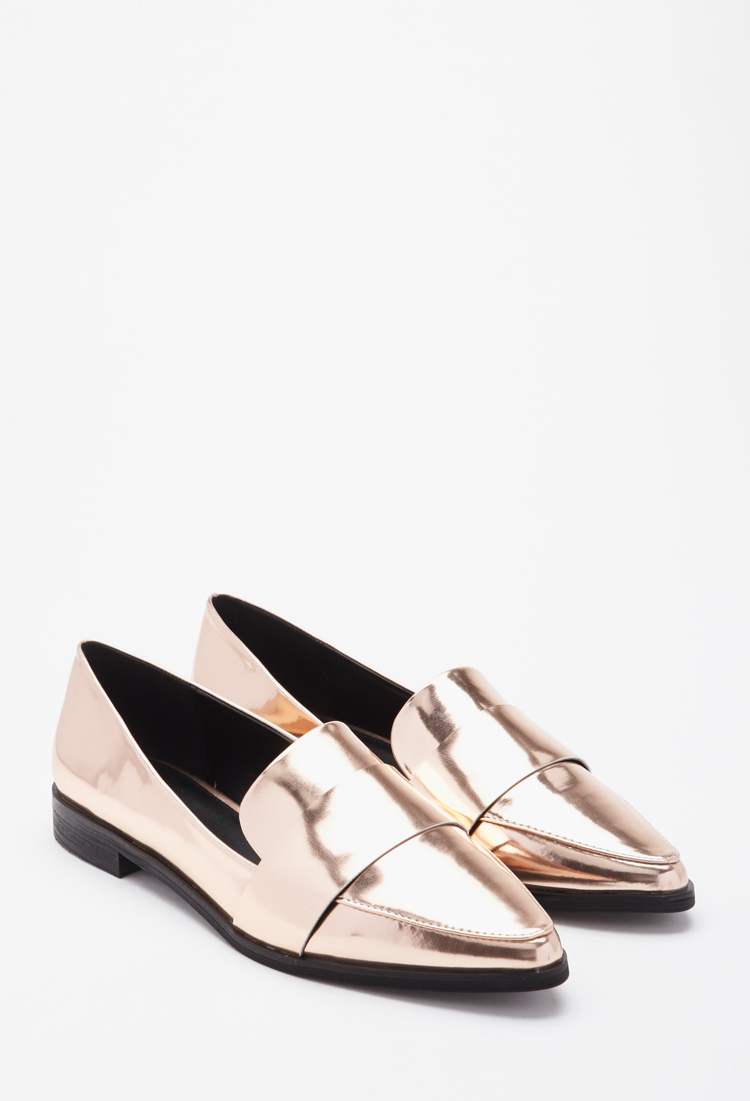 b6efe043e43 Lyst - Forever 21 Faux Leather Pointed Loafers in Pink