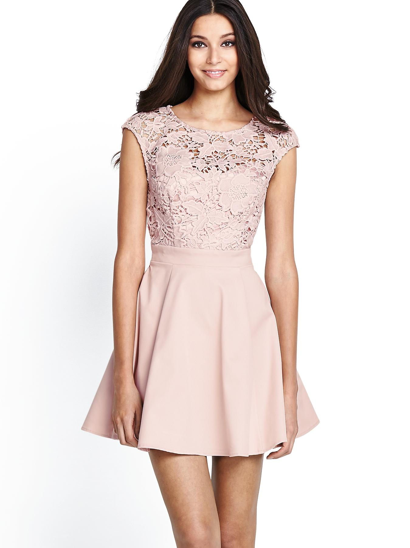 Lipsy Lace Skater Dress in Pink (blush) | Lyst