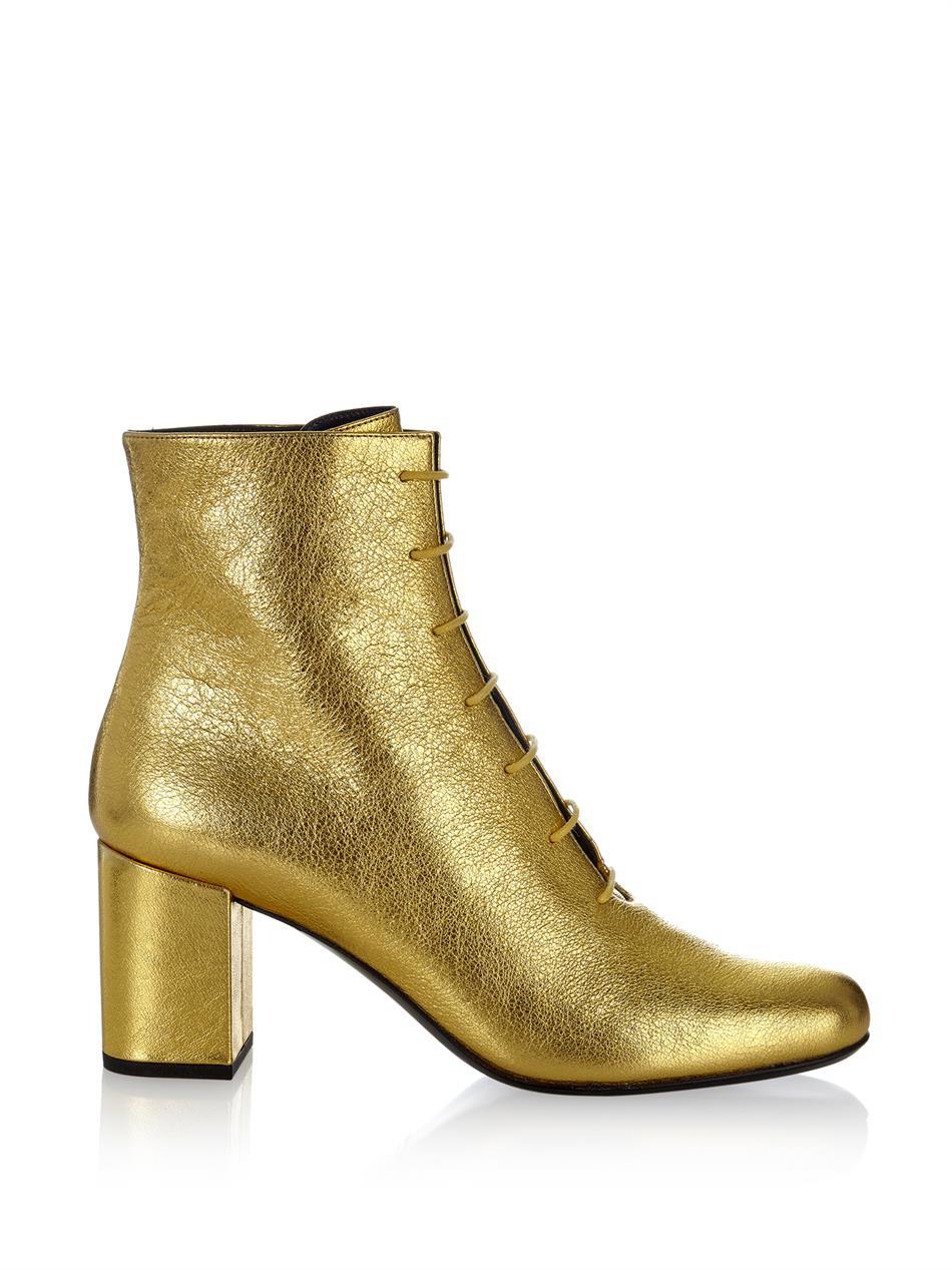 Lyst - Saint Laurent Babies 70 Block-Heel Leather Ankle Boots in ... 317b11c0bb