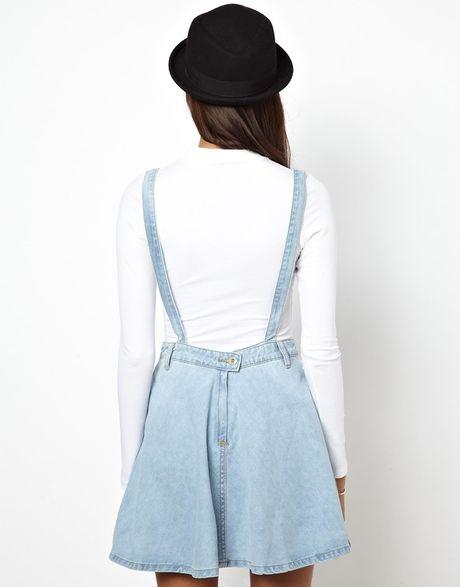 glamorous denim dungaree skirt in blue lyst