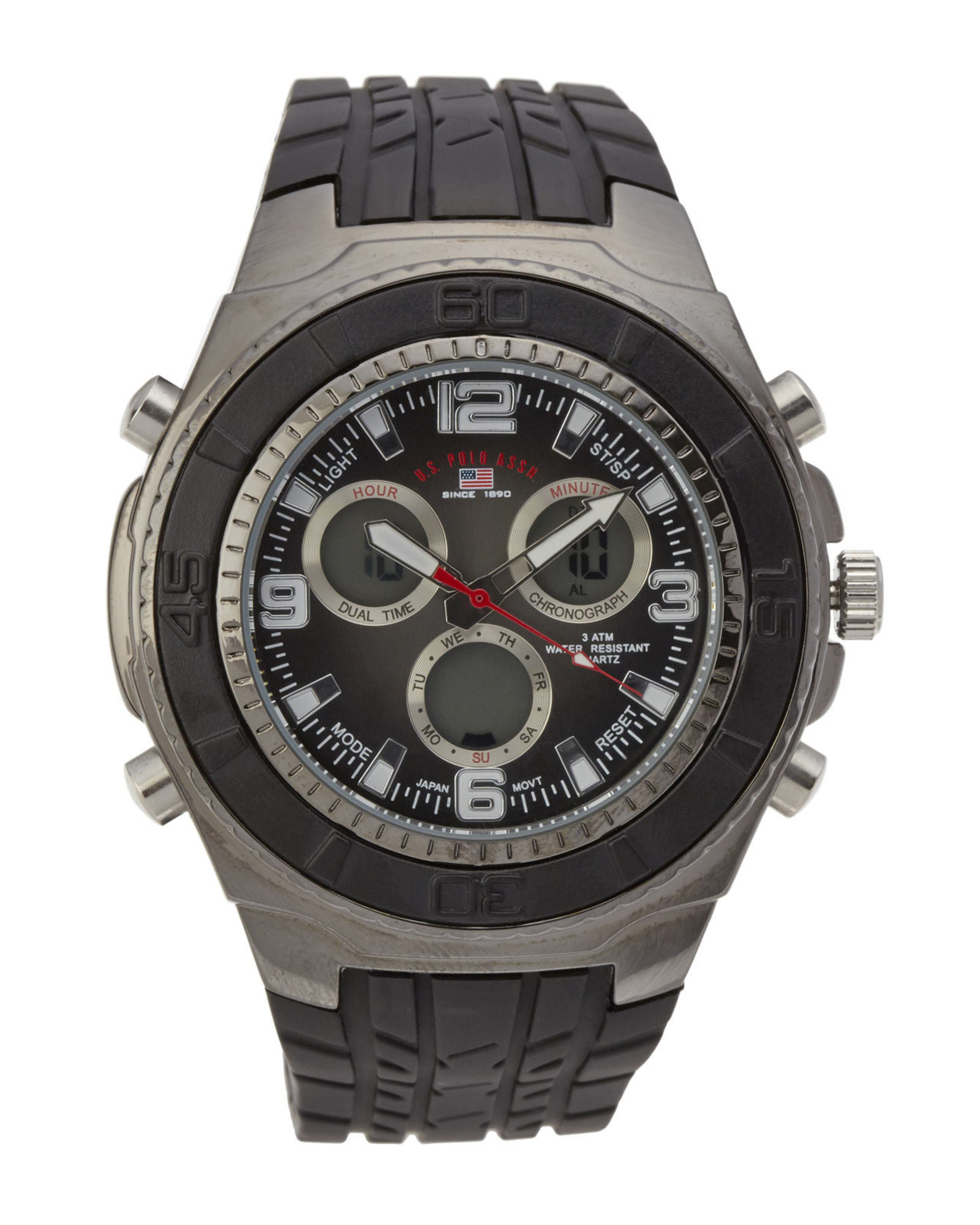 u s polo assn us9042 gunmetal black watch in metallic for men gallery