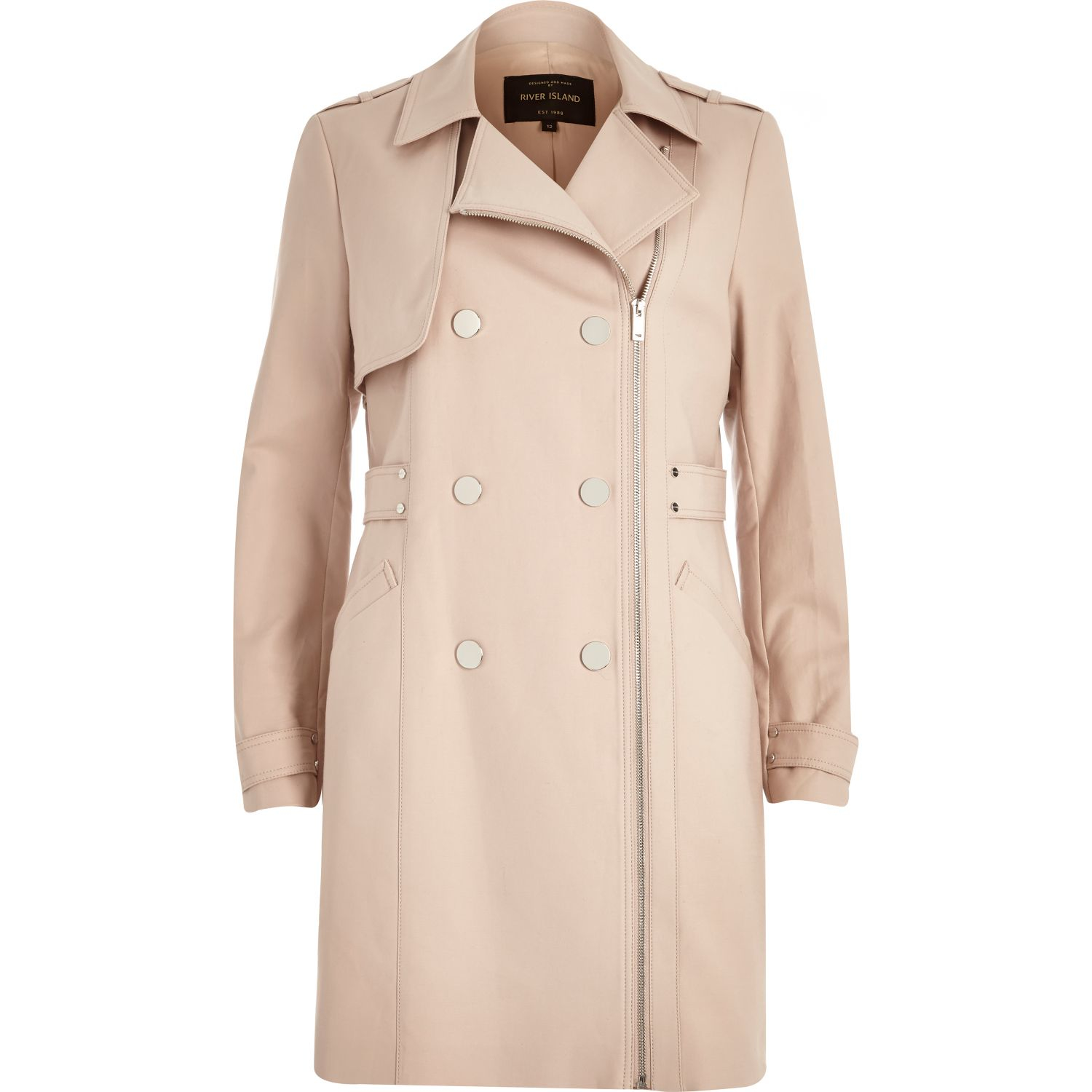 River island Light Pink Smart Zip-up Mac Coat in Natural | Lyst