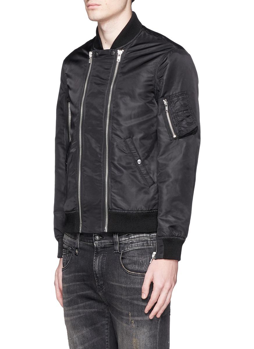 R13 Double Zip Front Bomber Jacket in Black for Men