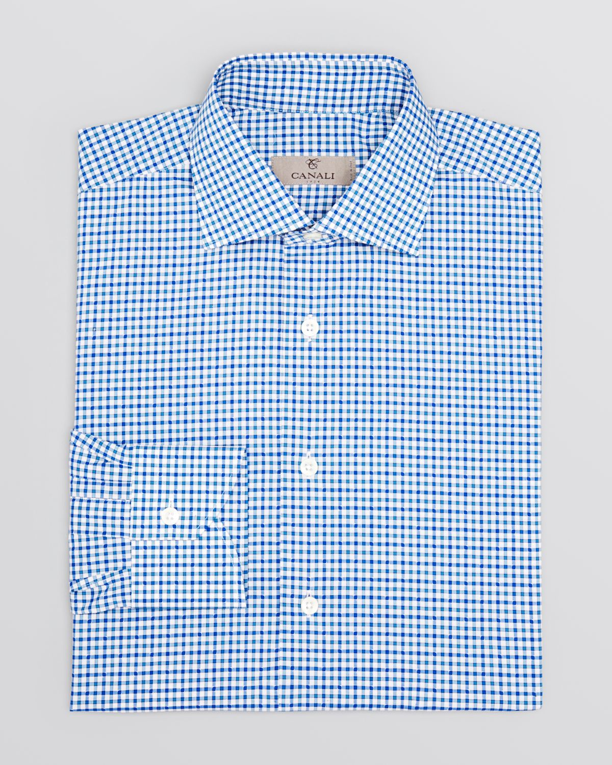 Canali gingham check with dobby regular fit dress shirt in for Blue check dress shirt
