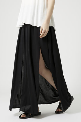 topshop spliced maxi skirt in black lyst