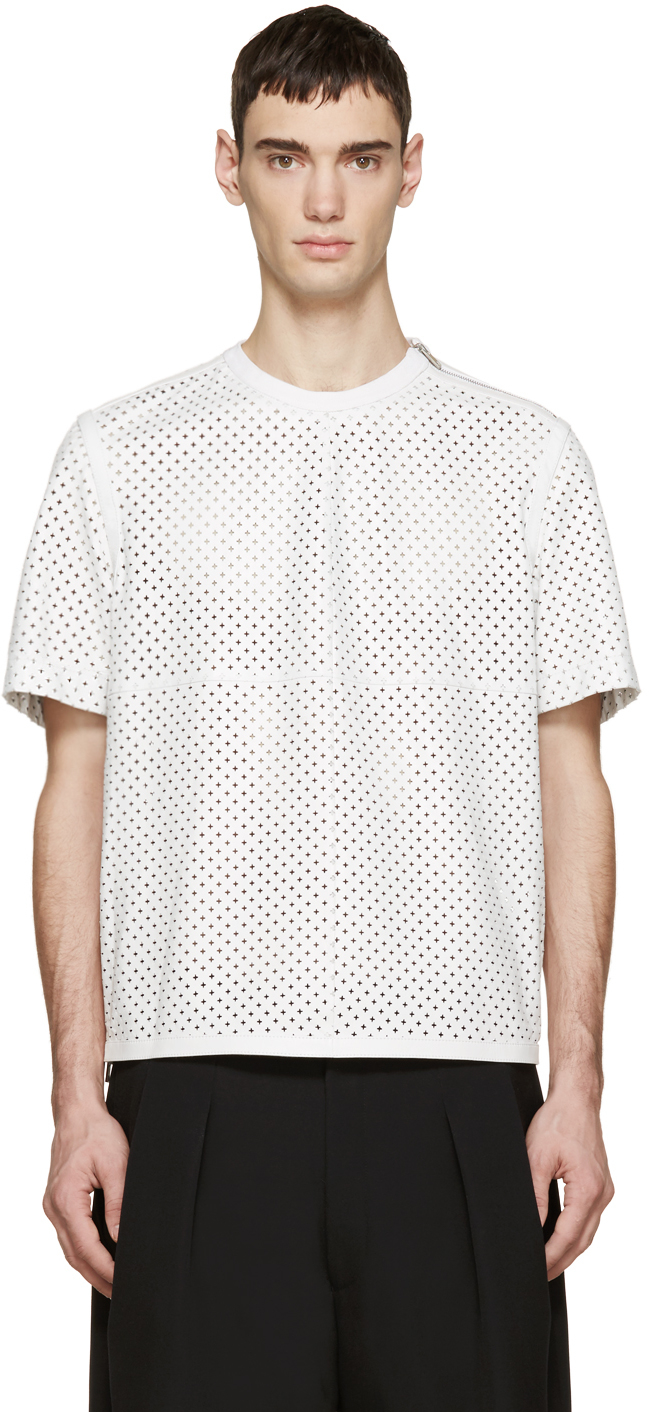 Givenchy white perforated leather t shirt in white for men for Mens white leather shirt