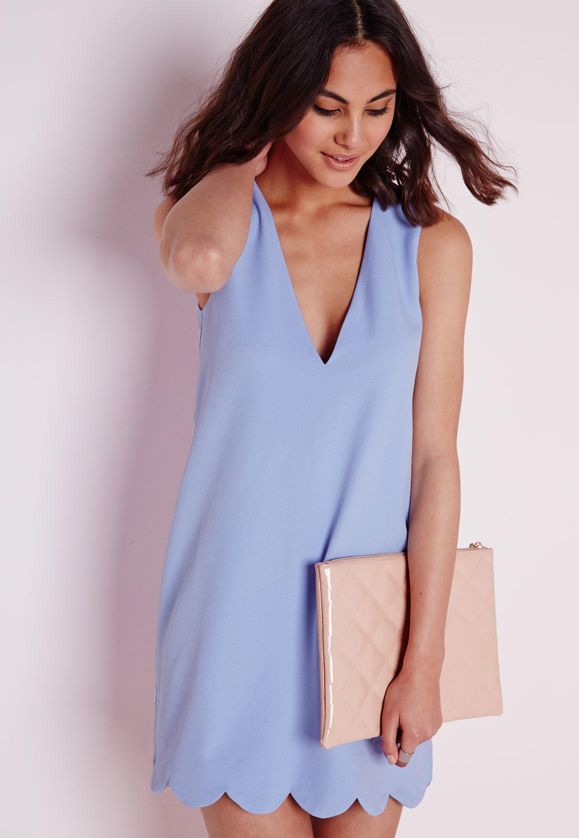 23e6847d3d1c Lyst - Missguided Crepe Plunge Scallop Hem Shift Dress Powder Blue ...