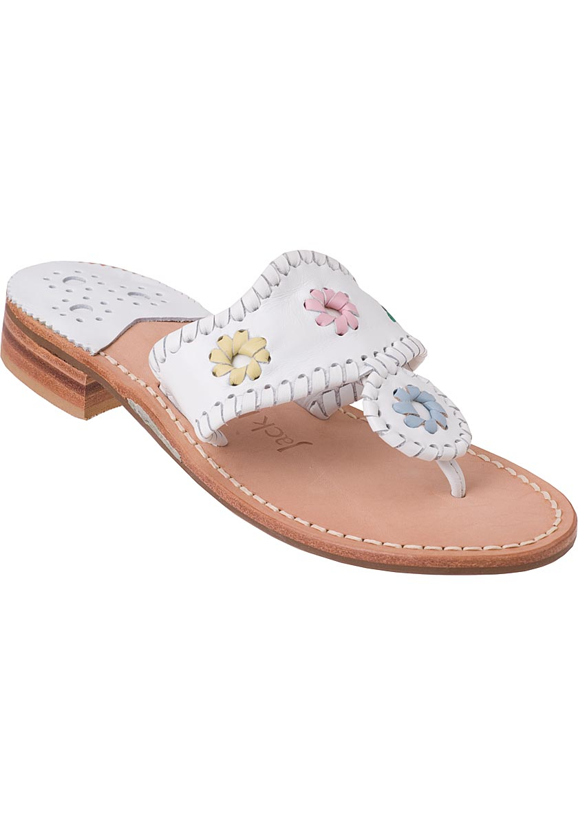 Jack Rogers Thong Sandal Pastel White Leather In White Lyst