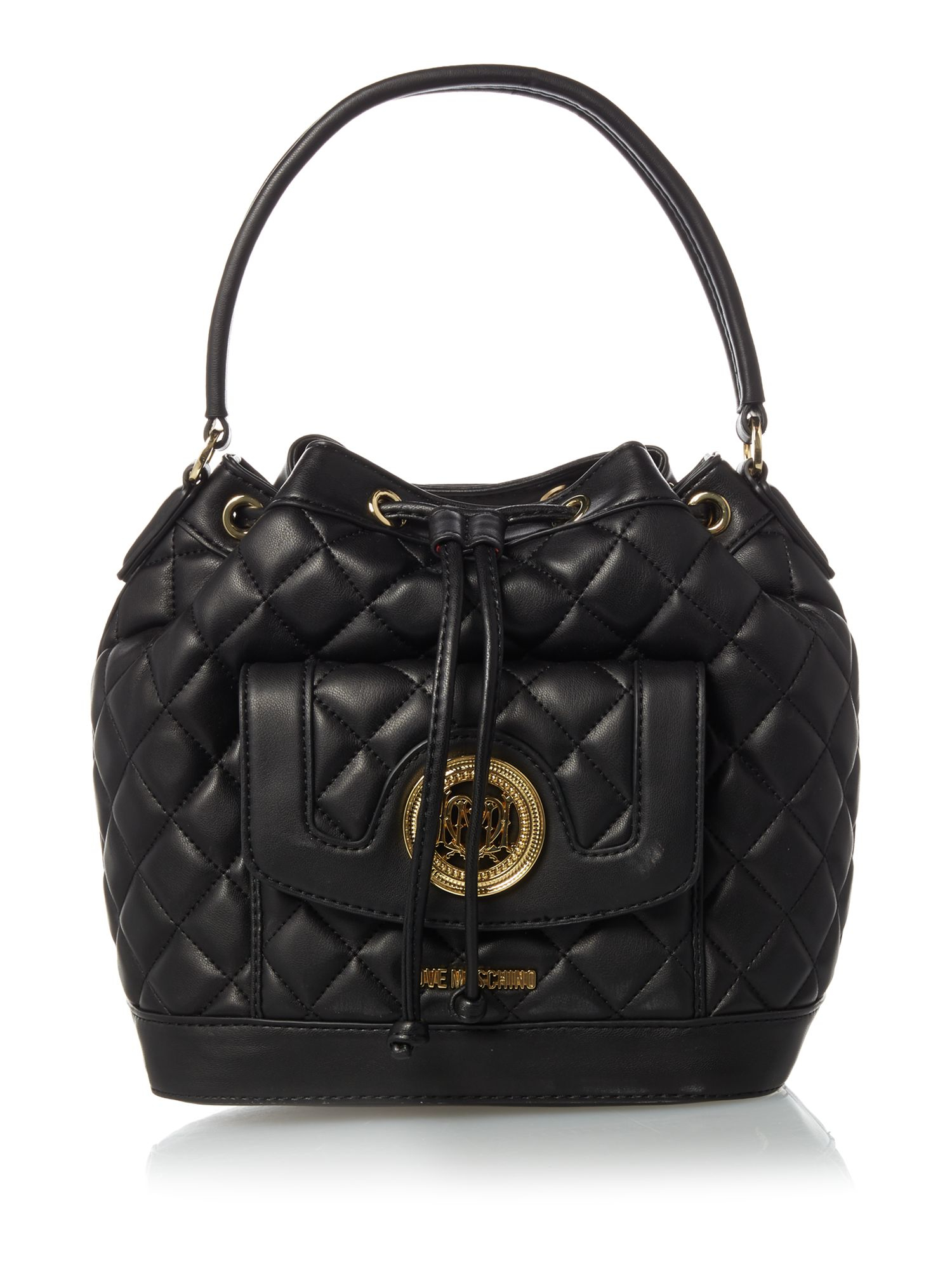 This Versace Bucket Bag is hand crafted by expert artisans using premium quality textured faux leather. This bag is a must have for every fashion lover.