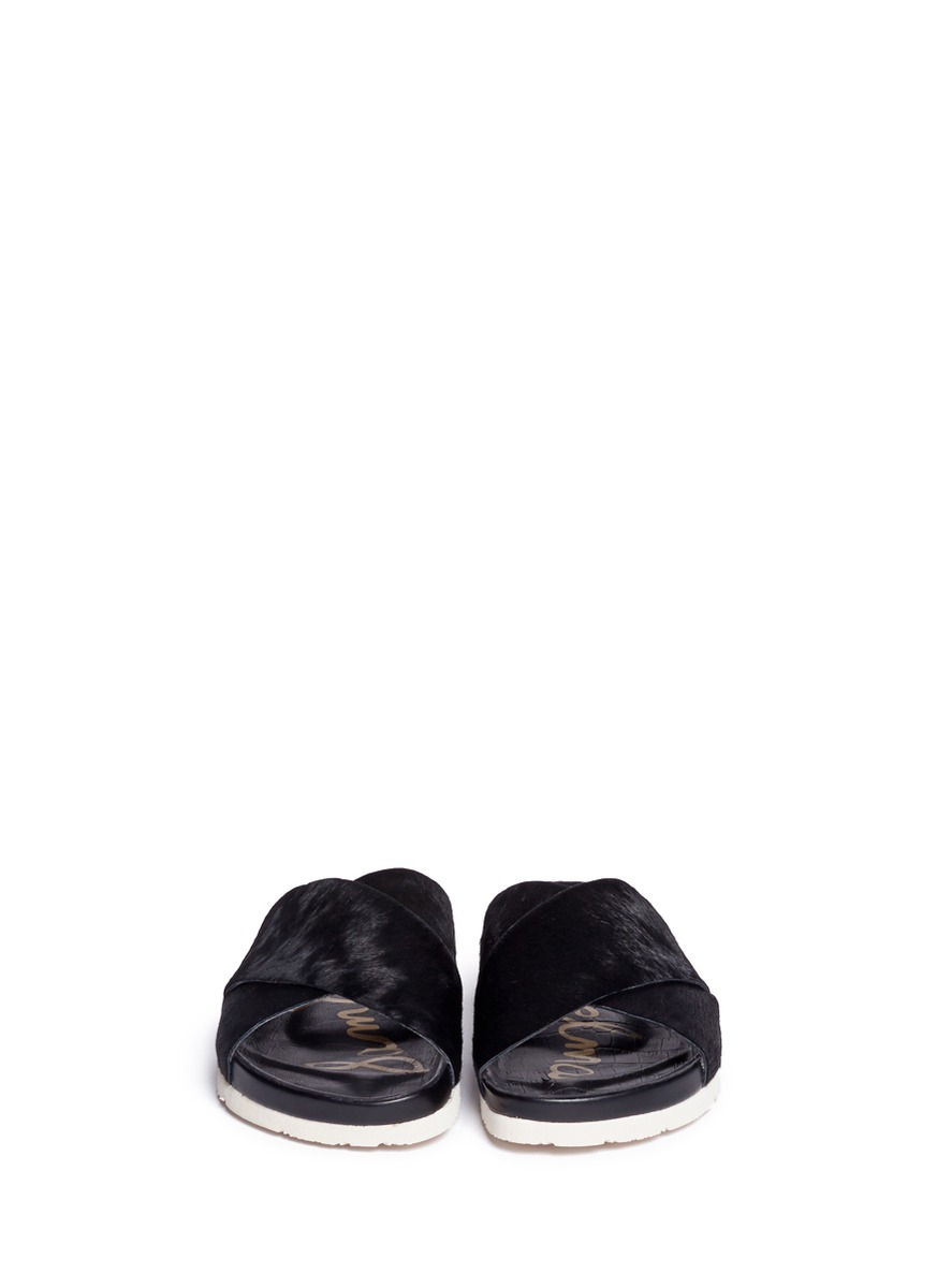 f45000f7c82729 Lyst - Sam Edelman Adora Calf Hair Cross-strap Sandals in Black