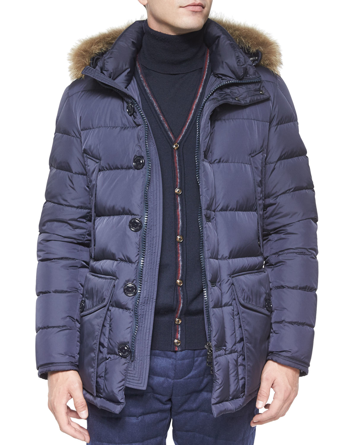 moncler cluny nylon puffer jacket with fur hood in blue for men lyst. Black Bedroom Furniture Sets. Home Design Ideas