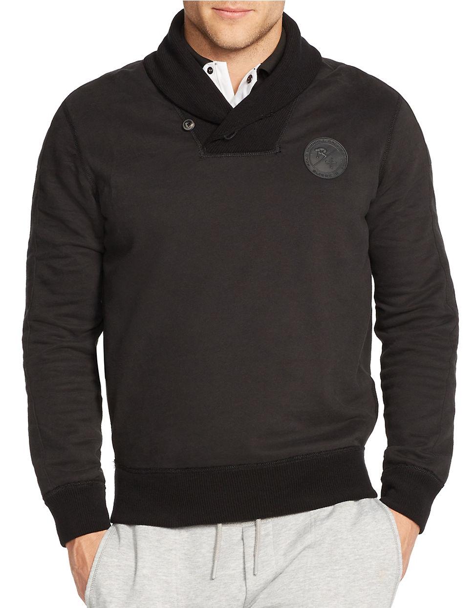 polo ralph lauren black fleece shawl pullover for men lyst. Black Bedroom Furniture Sets. Home Design Ideas
