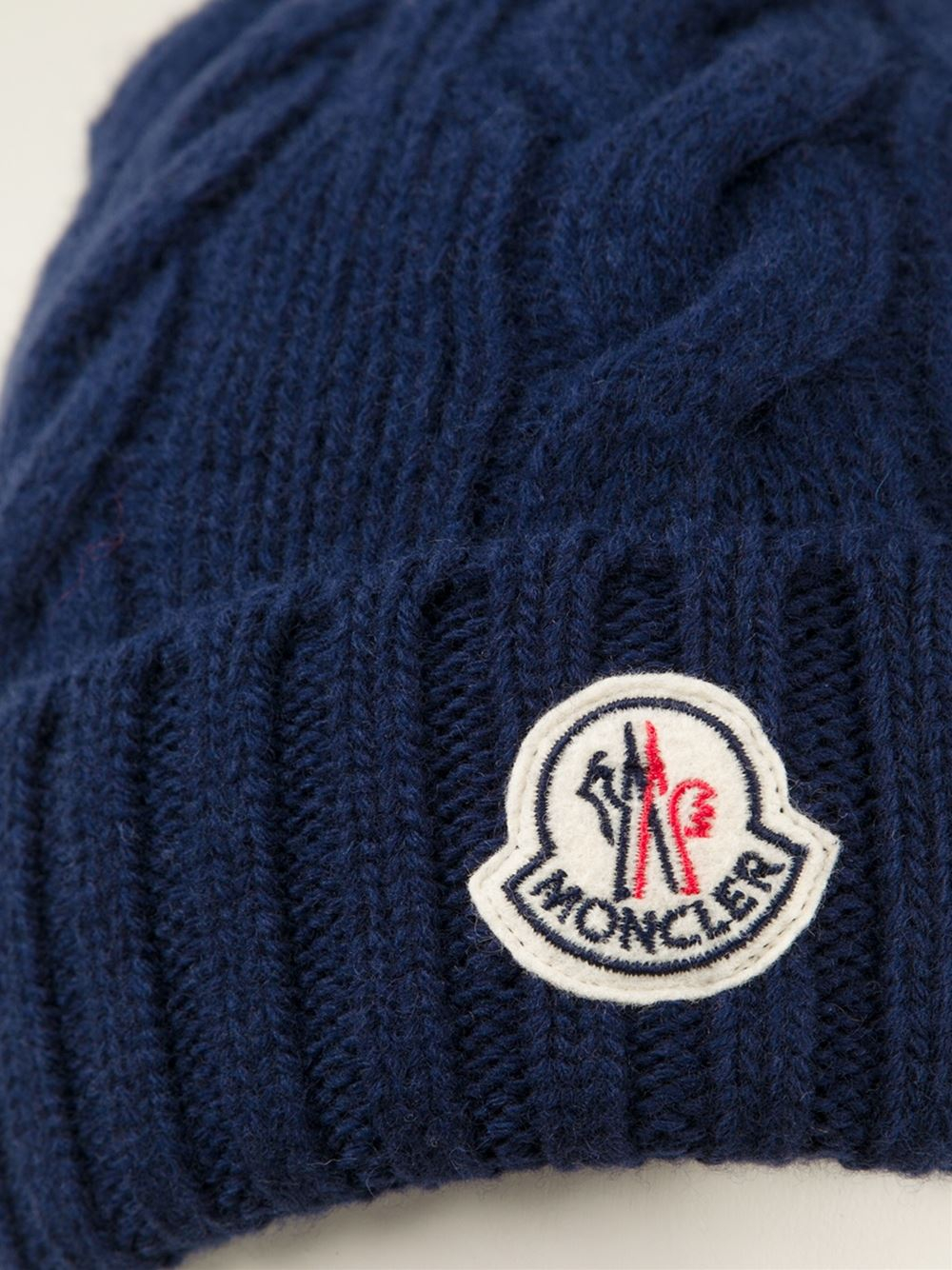 Lyst - Moncler Cable Knit Beanie in Blue for Men 807412a82ae