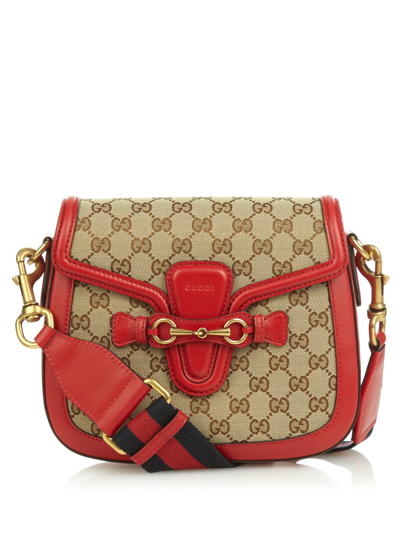 a344a2d181 Gucci Lady Web Medium Canvas And Leather Shoulder Bag in Red - Lyst