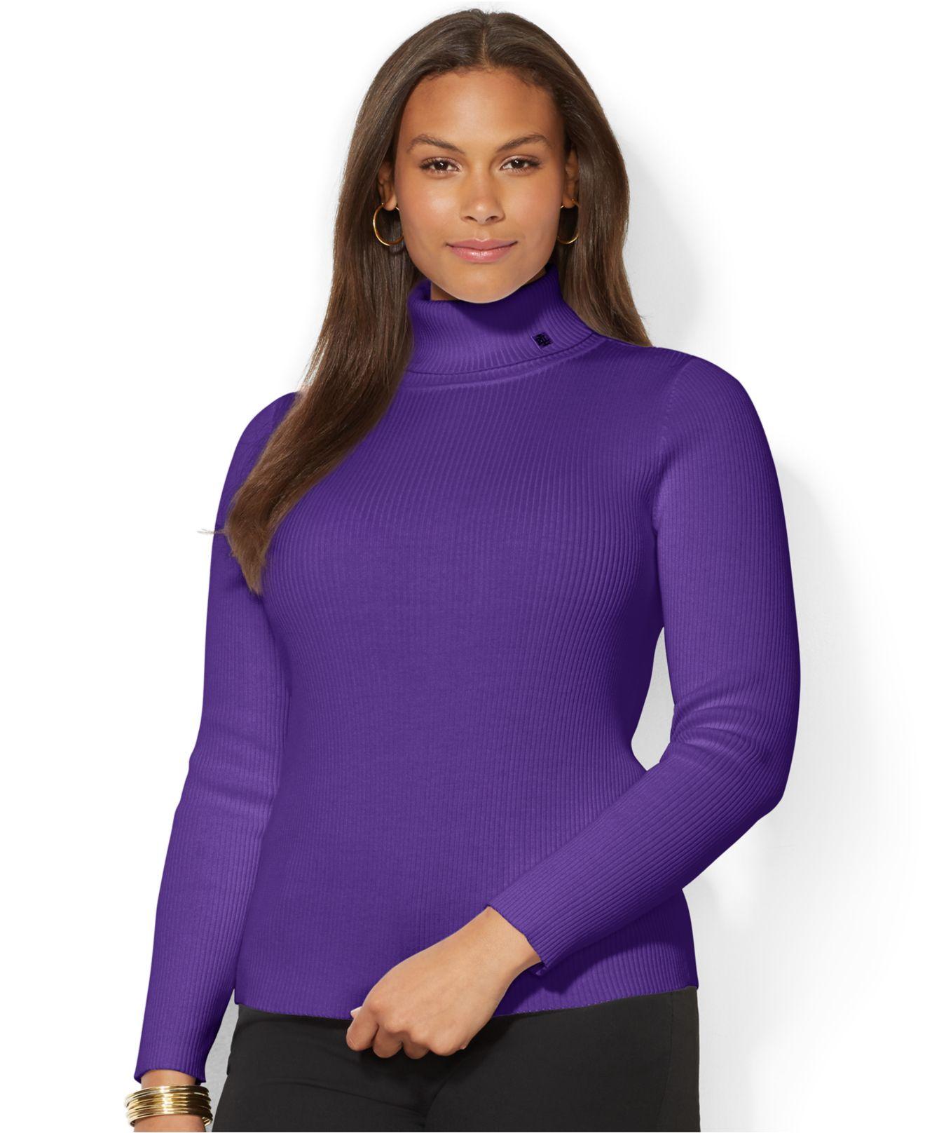 Lauren by ralph lauren Plus Size Ribbed Turtleneck Sweater in ...