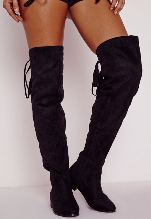 Missguided Flat Knee High Tassel Back Boots Black in Black | Lyst