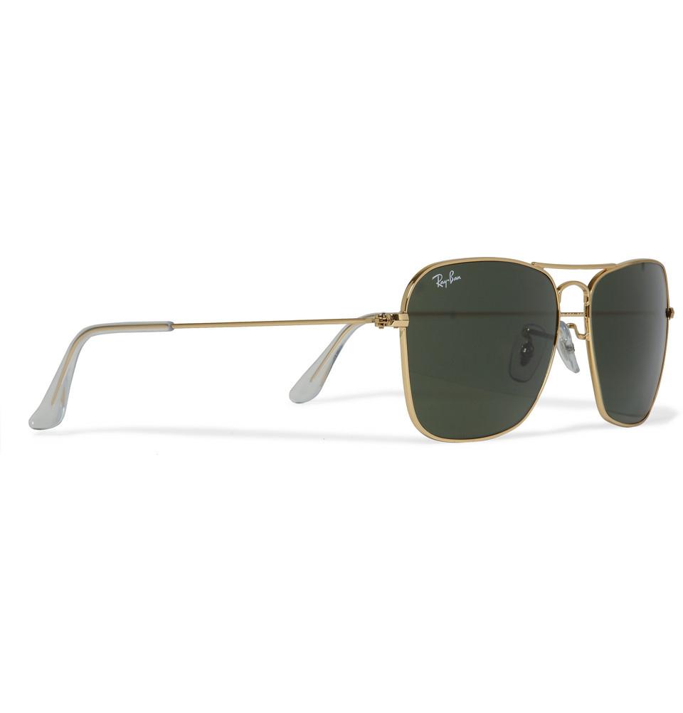 Ray Ban Metal Aviator Sunglasses  ray ban caravan metal d frame sunglasses in metallic for men lyst