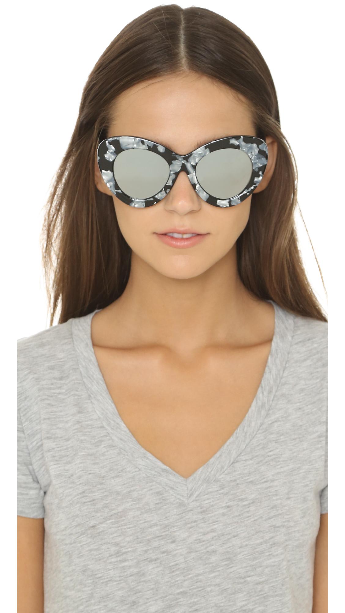 Lyst - Le Specs Go Go Go Sunglasses - Black Marble silver Revo in Black f9f1a4c4052
