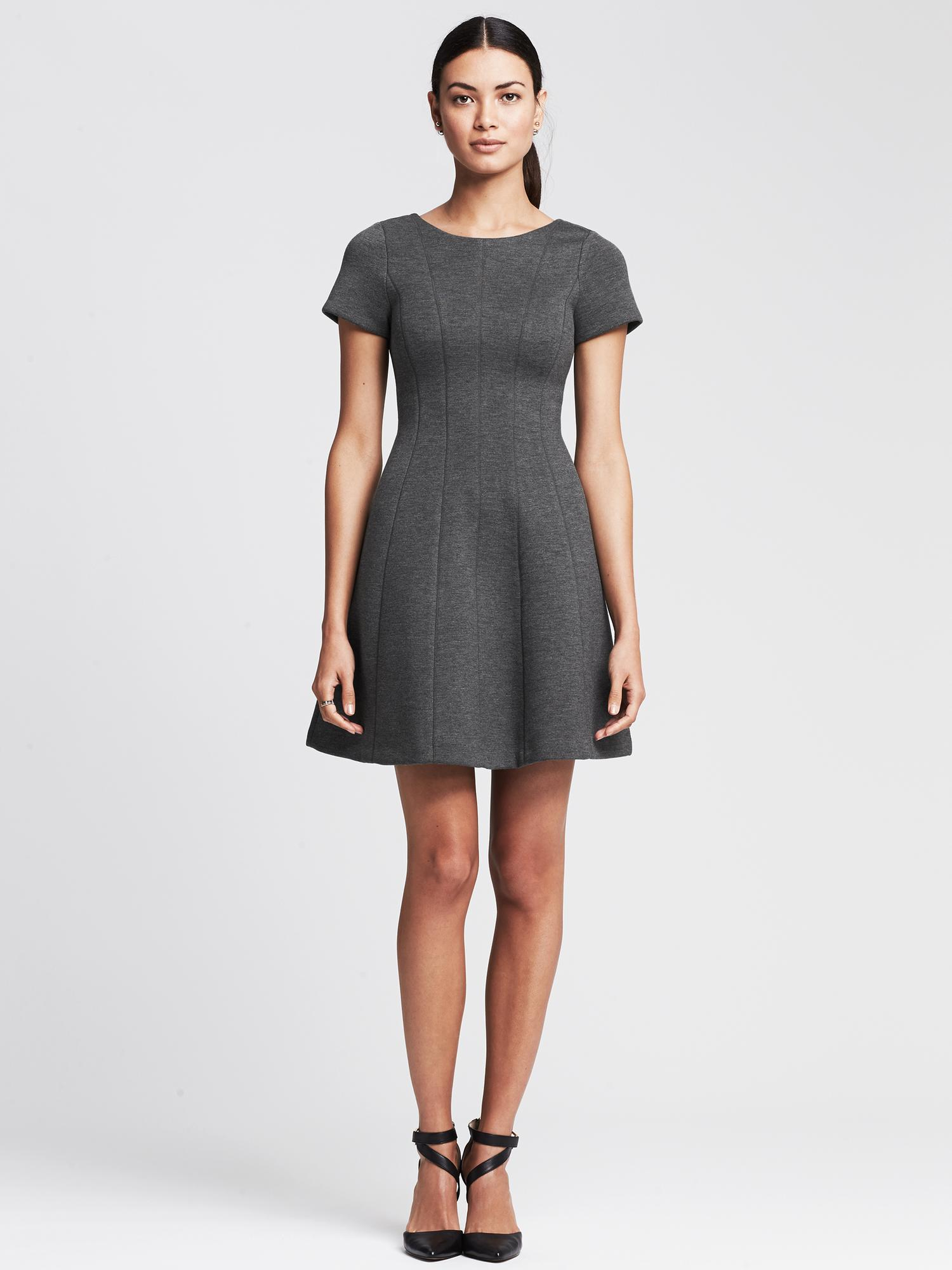 Banana republic V-back Fit-and-flare Dress in Gray | Lyst