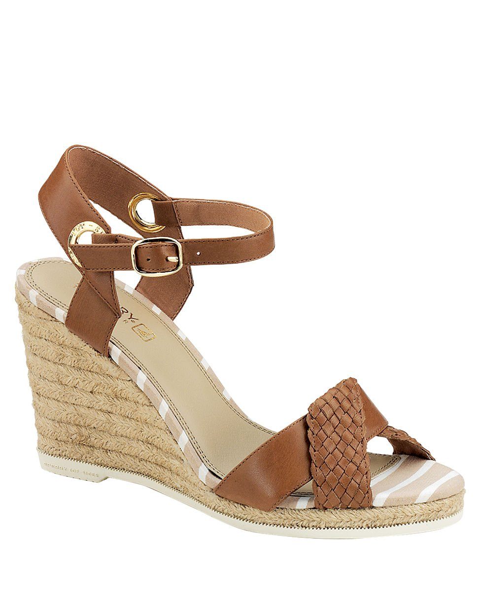 sperry top sider saylor wedge sandals in brown lyst