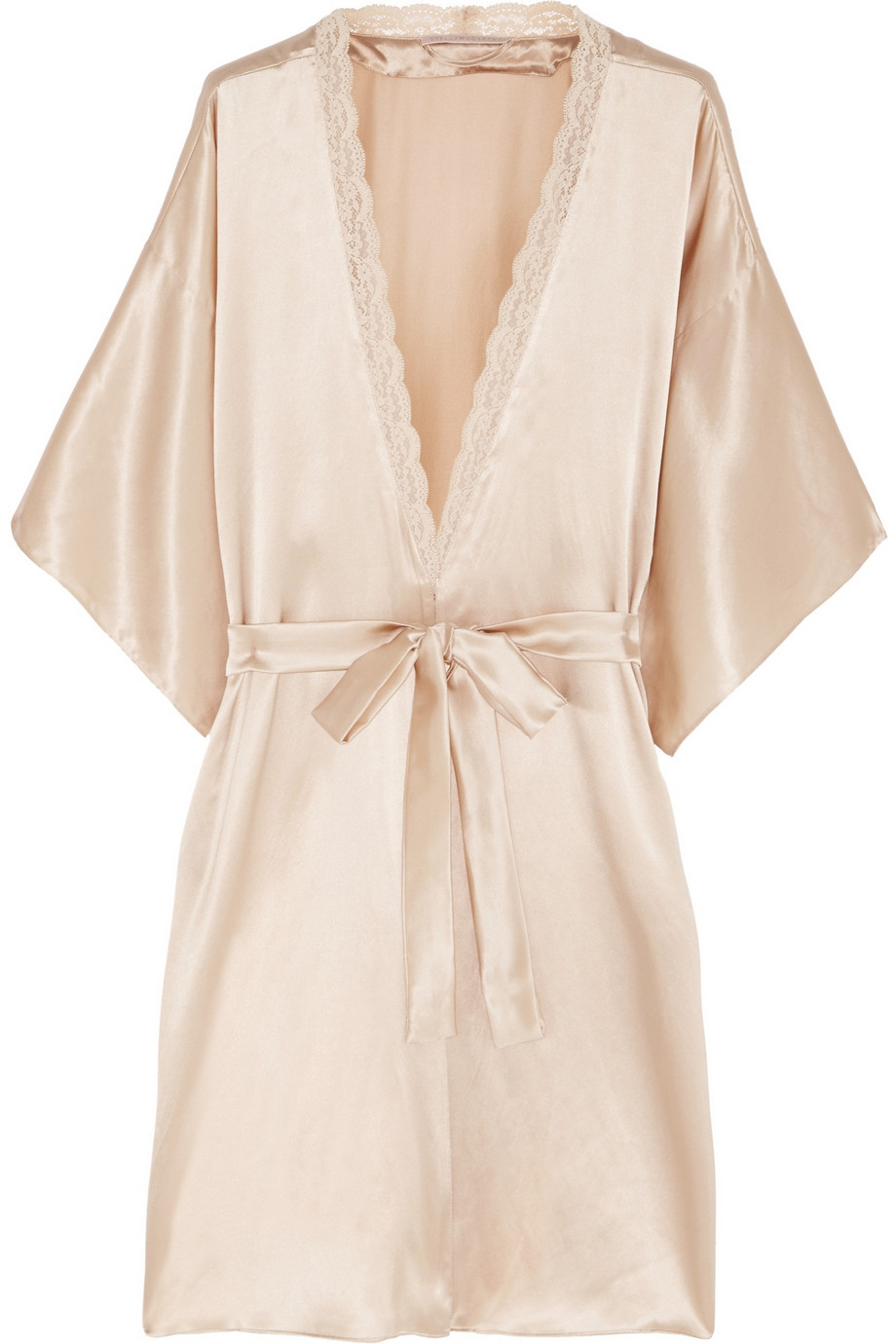 stella mccartney clara whispering lace trimmed silk robe in pink lyst. Black Bedroom Furniture Sets. Home Design Ideas
