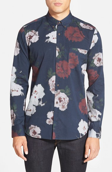 French connection 39 pixel peonie 39 trim fit oxford sport for French blue oxford shirt