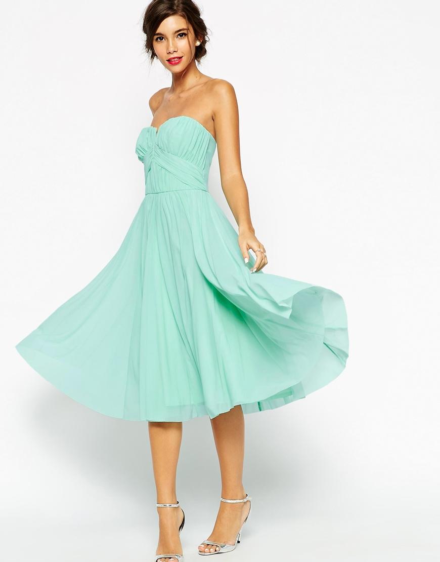 asos wedding ruched bodice bandeau midi dress in green