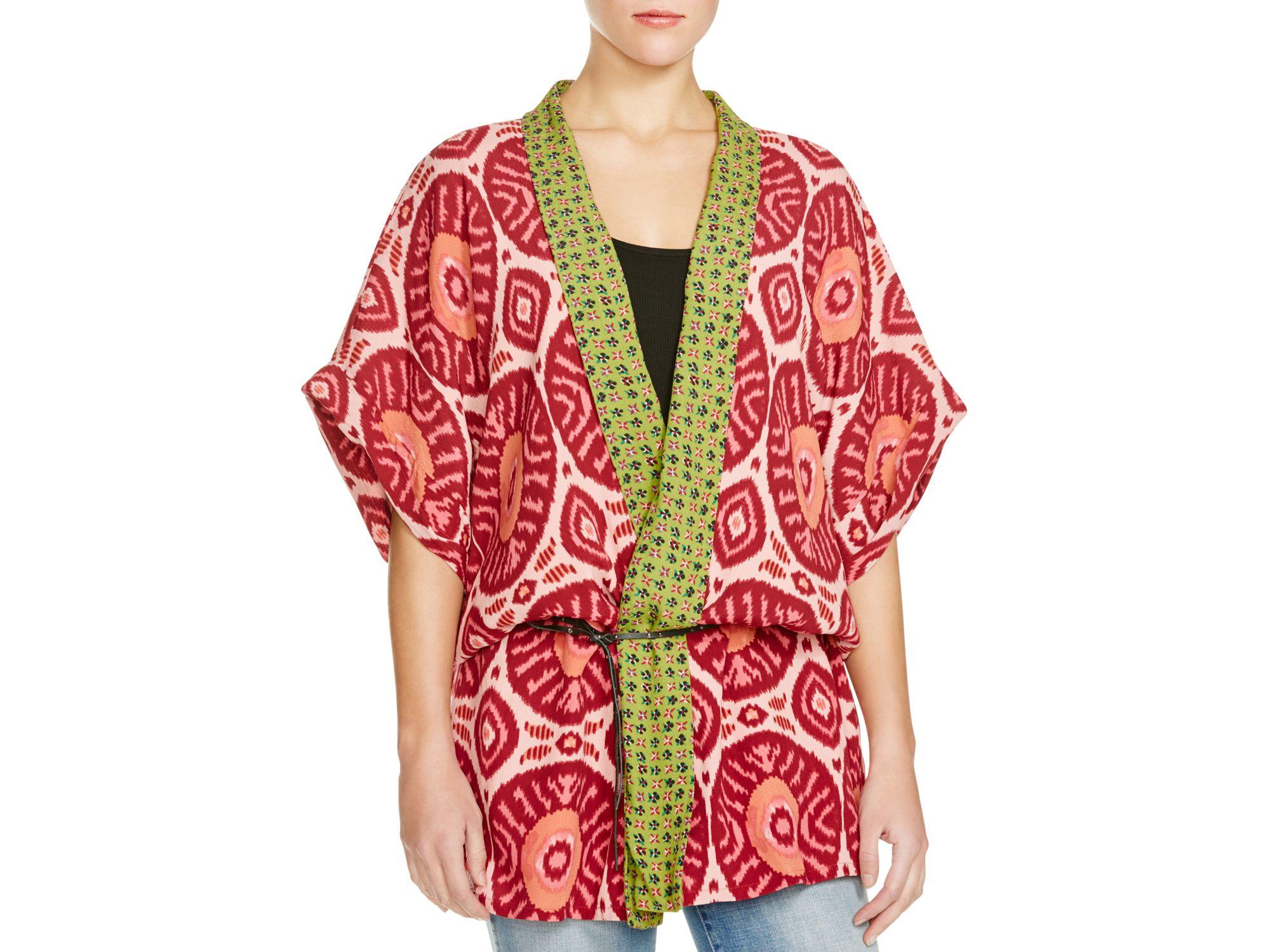 lyst scotch soda pattern block belted kimono jacket. Black Bedroom Furniture Sets. Home Design Ideas