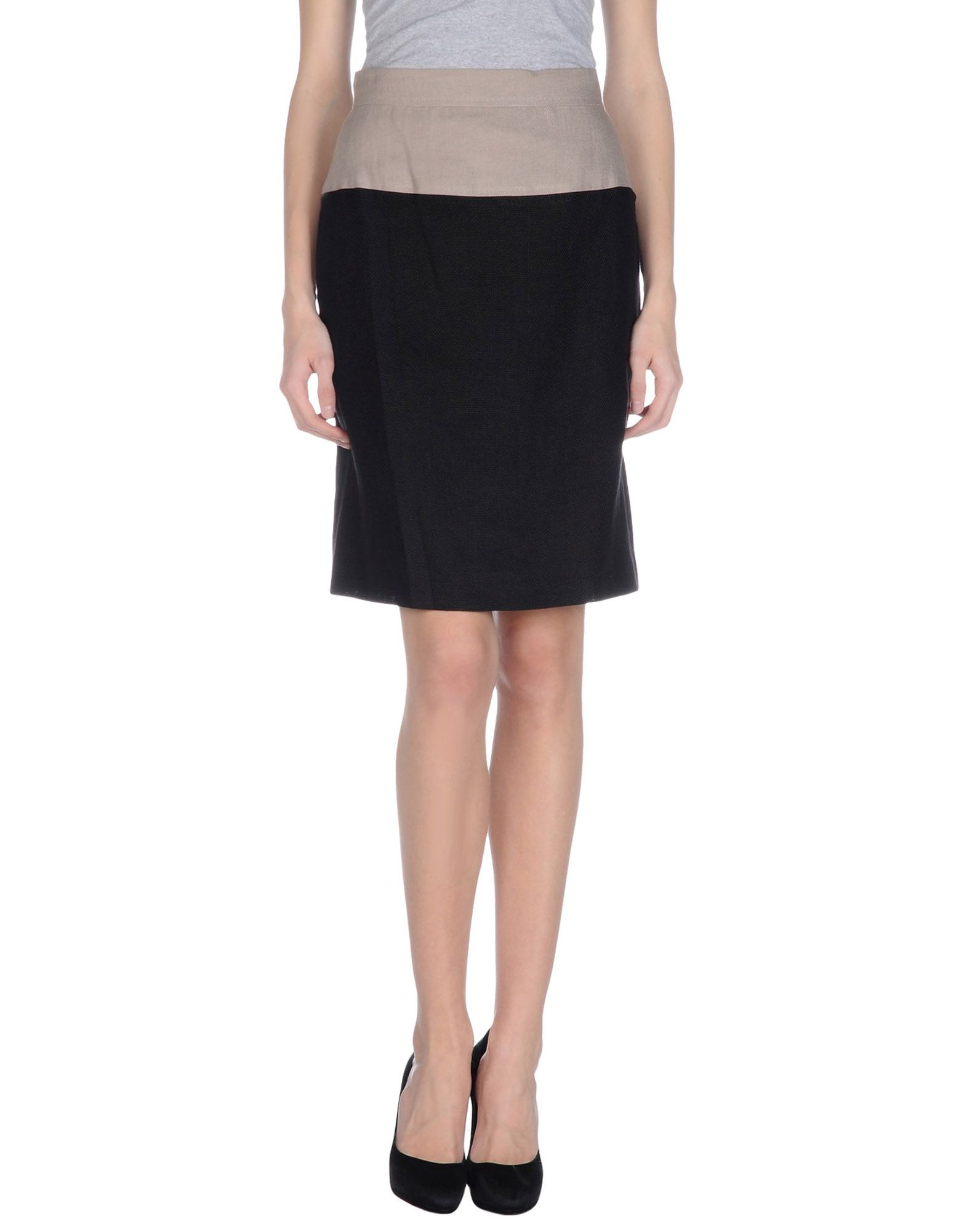 les copains knee length skirt in black lyst