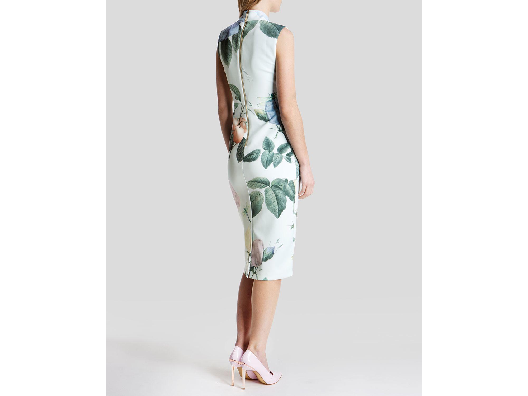 0d3d03e07104f Lyst - Ted Baker Ravina Distinguished Rose Dress in Green