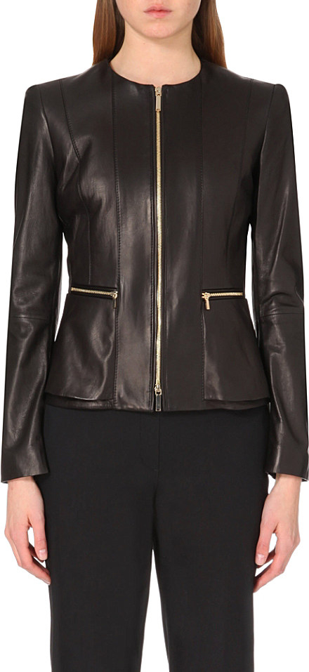 Hugo boss leather jacket women