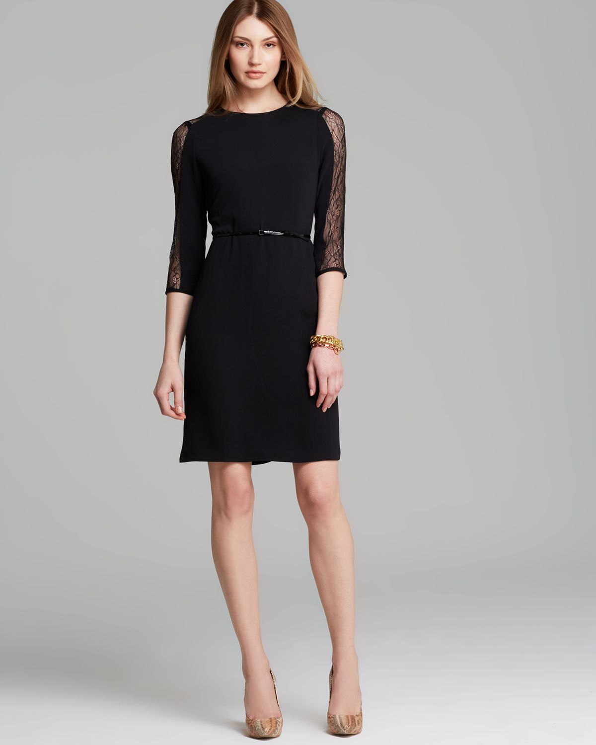 calvin klein dress lace inset in black lyst