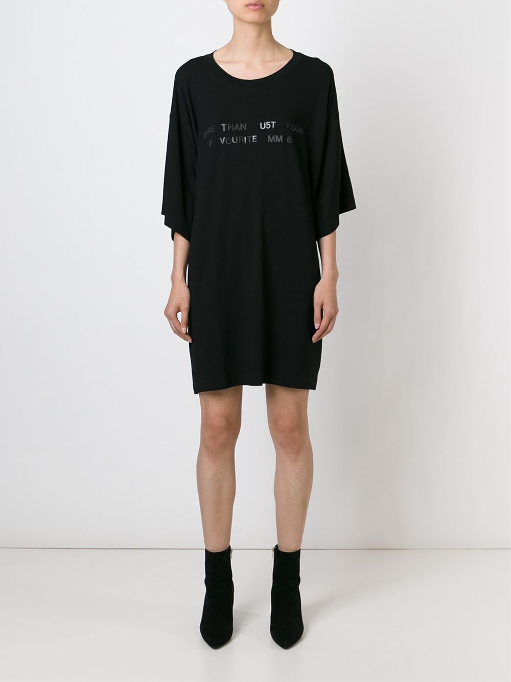 Mm6 by maison martin margiela printed jersey dress in for Mm6 maison margiela