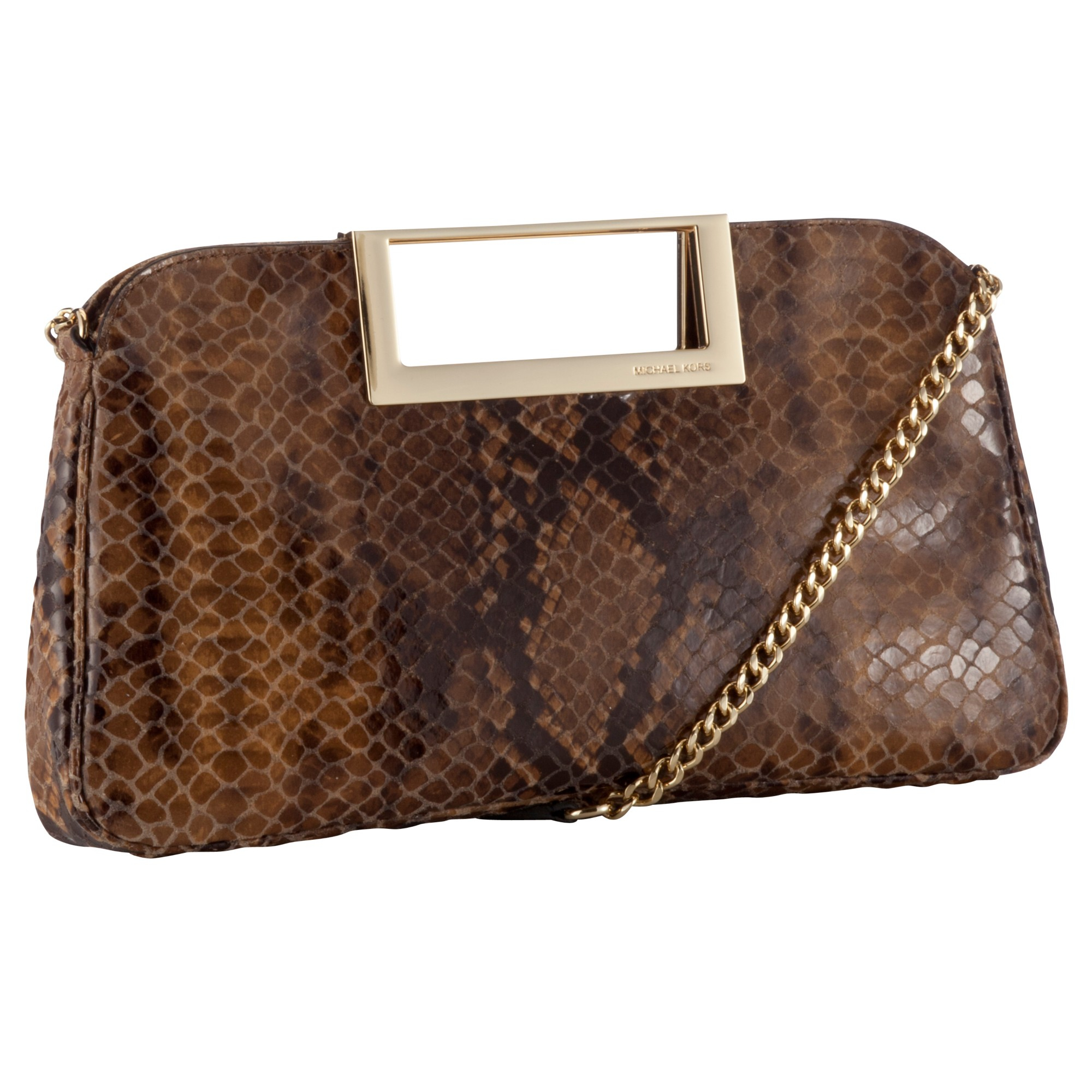 michael michael kors michael micheal kors berkley leather large clutch handbag in brown tan python. Black Bedroom Furniture Sets. Home Design Ideas