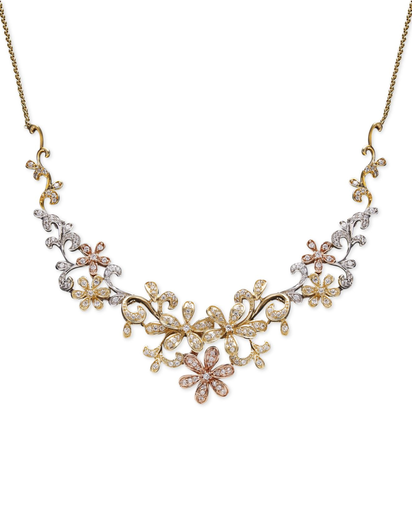 a2fc560d9a467e Macy's Diamond Flower Necklace In Tri-Tone 14K Gold (3/4 Ct. T.W. ...