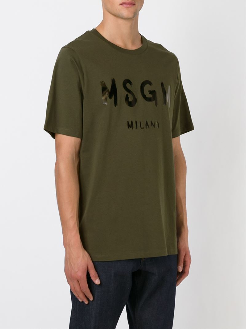 Lyst Msgm Logo Print T Shirt In Green For Men