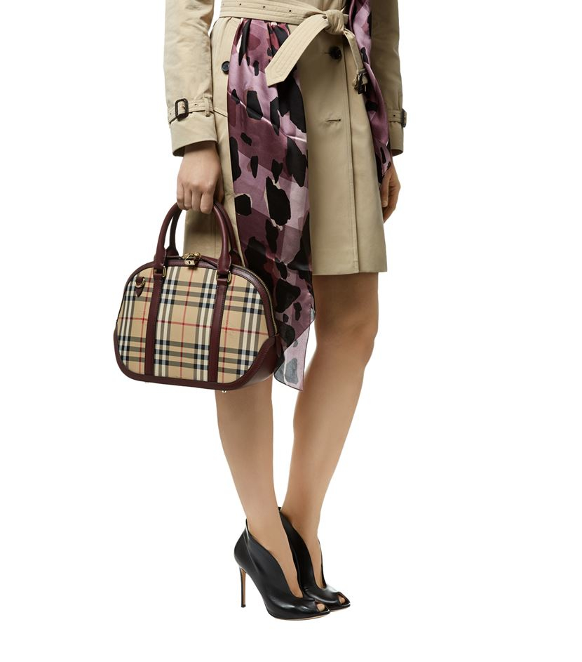 999b93d6e8ba Burberry Small Orchard Horseferry Check Bowling Bag in Brown - Lyst