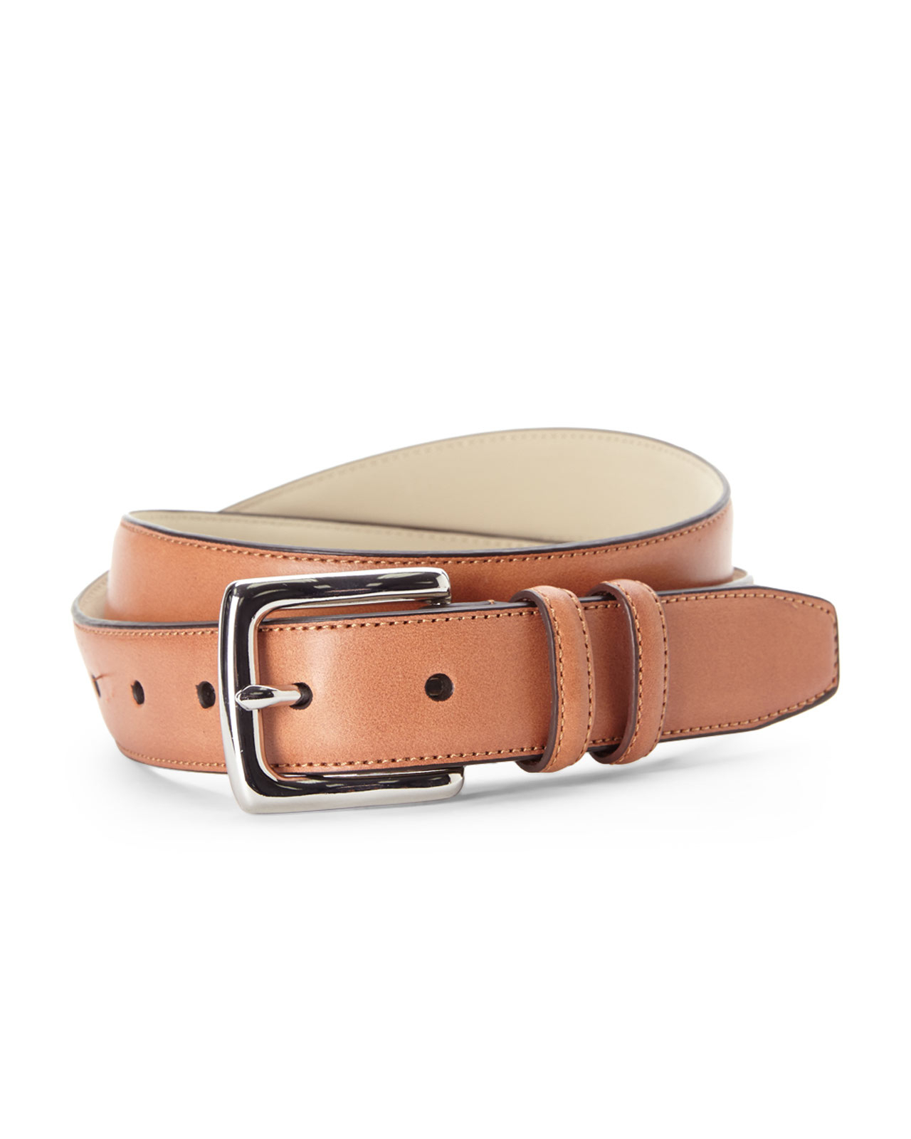 cole haan stitched edge leather belt in brown for lyst