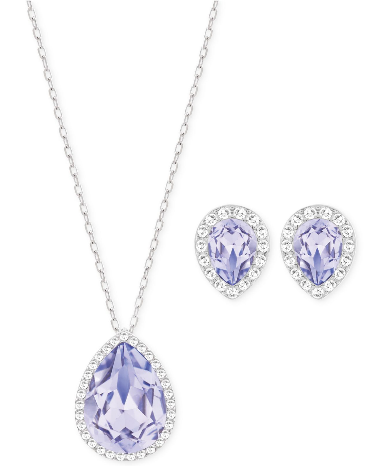 Swarovski Purple Silver Tone Lavender Crystal Necklace And Stud Earrings Set