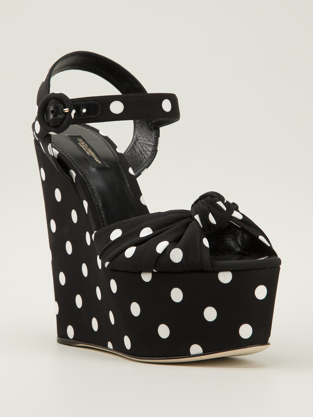dolce gabbana polka dot wedge sandals in black lyst