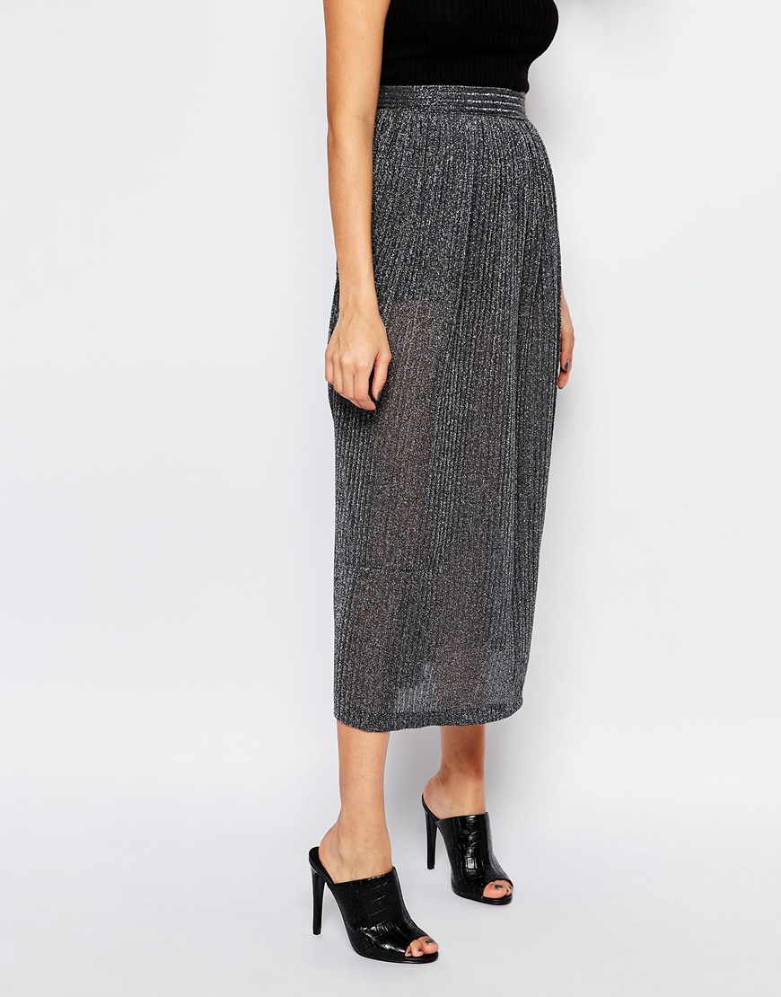 bf9625a82 French Connection Midi Skirt In Flicker Rib in Gray - Lyst