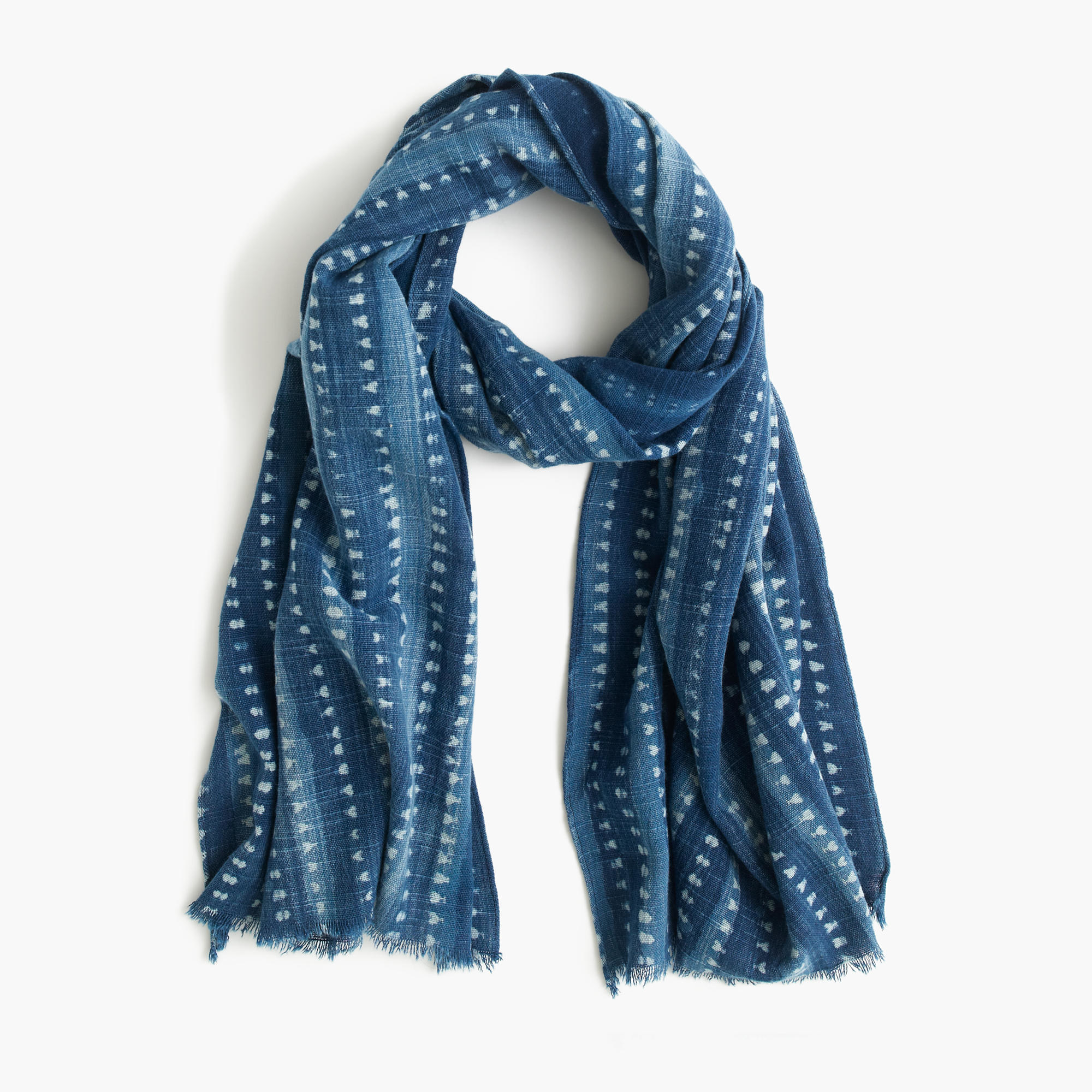 j crew printed indigo cotton scarf in blue for lyst