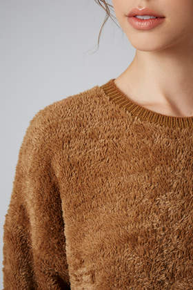 Topshop Fluffy Slouch Sweater in Brown | Lyst
